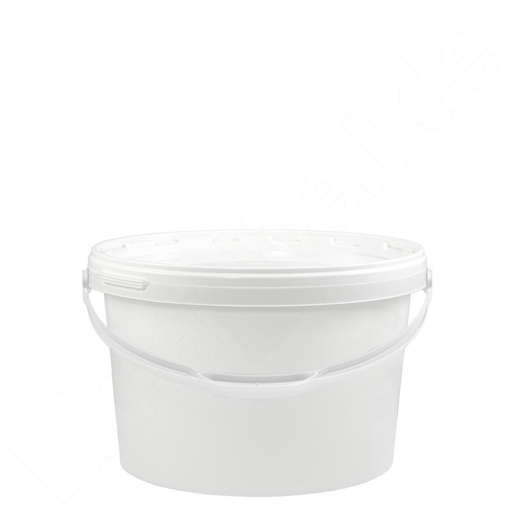 kunststoffeimer 3 5 liter oval wei mit deckel und metallb gel eimer. Black Bedroom Furniture Sets. Home Design Ideas