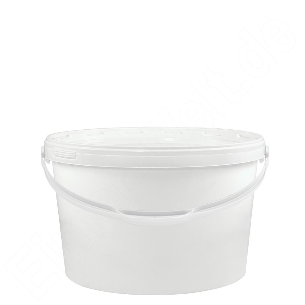 kunststoffeimer 5 5 liter oval wei mit deckel und metallb gel eimer. Black Bedroom Furniture Sets. Home Design Ideas