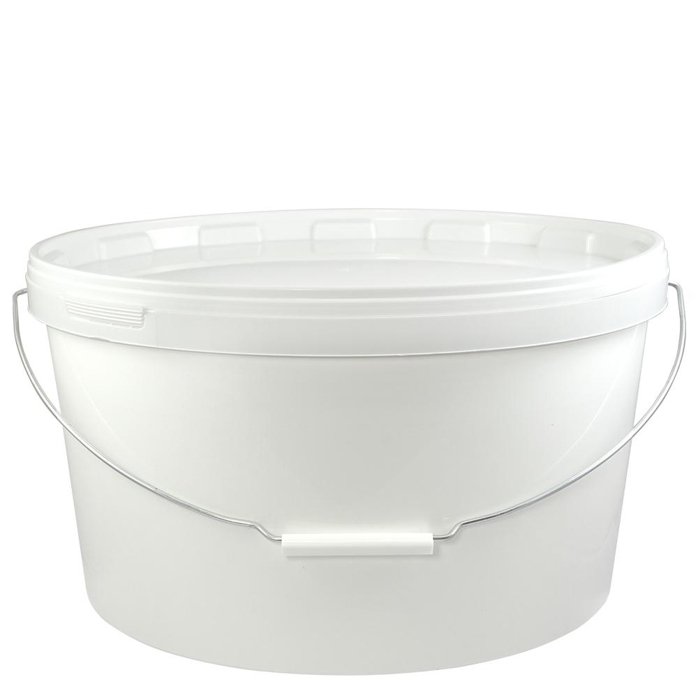 kunststoffeimer 15 0 liter oval wei mit deckel und metallb gel eimer. Black Bedroom Furniture Sets. Home Design Ideas