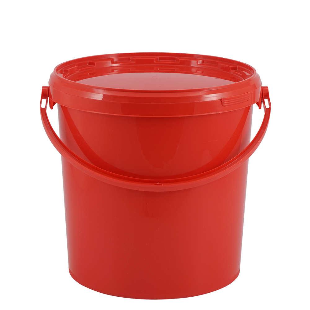 Sehr Kunststoffeimer 10,7 Liter, rund, rot, mit Deckel und ZS27