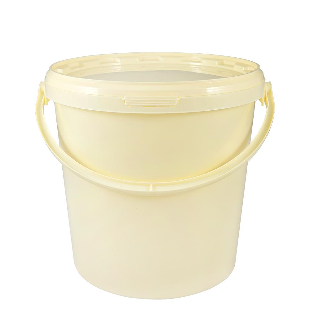 kunststoffeimer 10 7 liter rund beige mit deckel und kunststoffb gel eimer. Black Bedroom Furniture Sets. Home Design Ideas