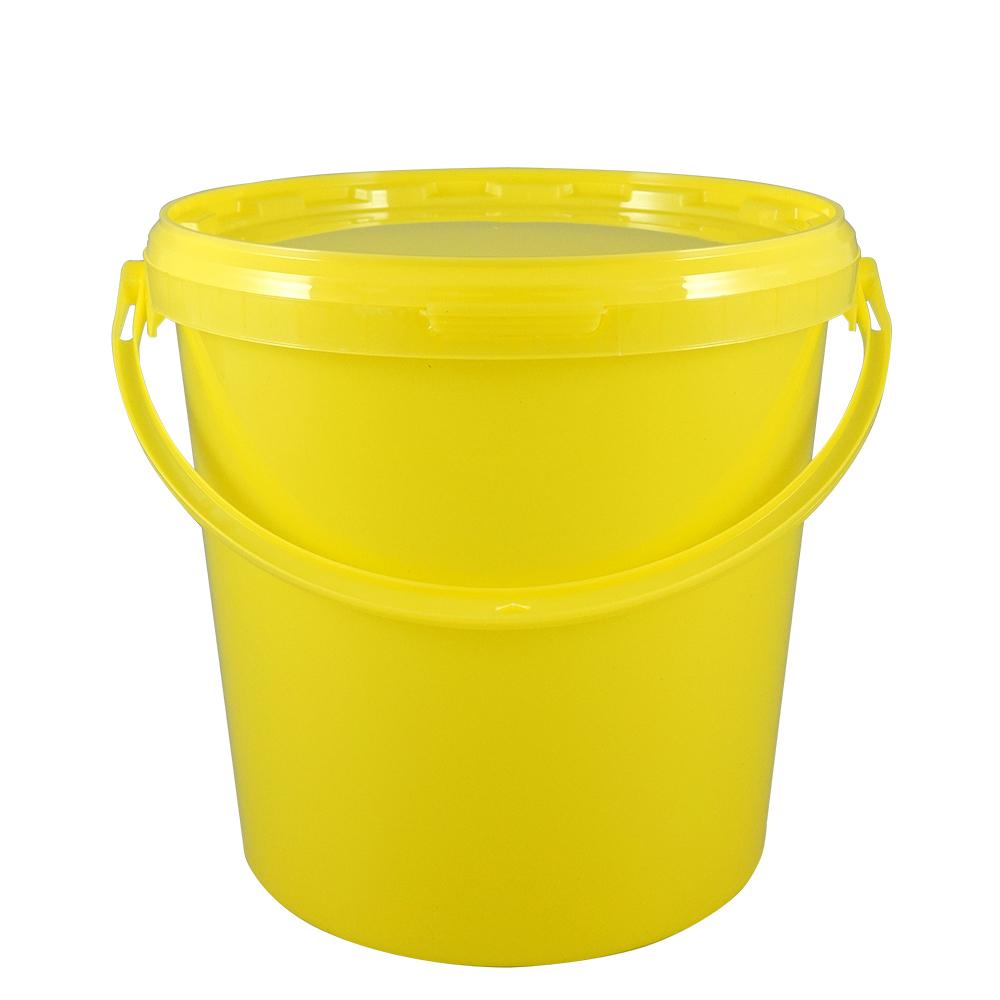 Kunststoffeimer 10,7 Liter, rund, gelb, mit Deckel und