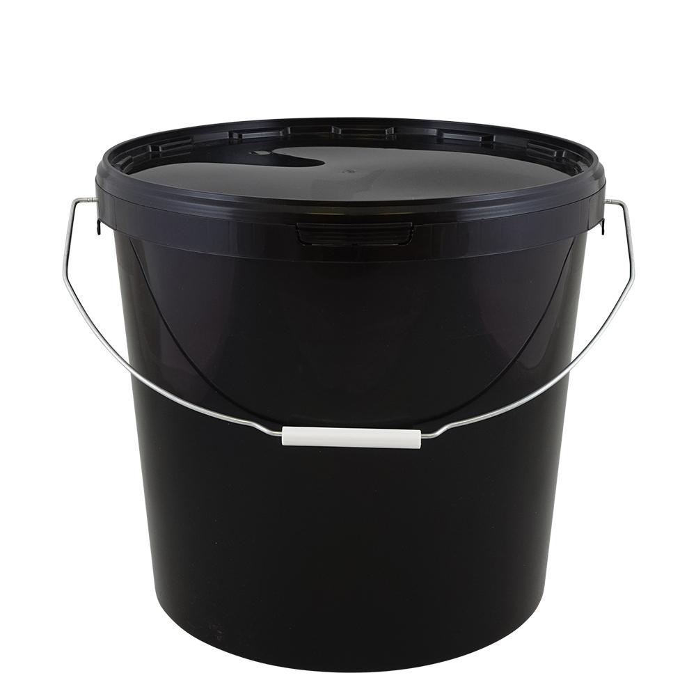kunststoffeimer 16 0 liter rund schwarz mit deckel metallb gel griffrolle eimer. Black Bedroom Furniture Sets. Home Design Ideas